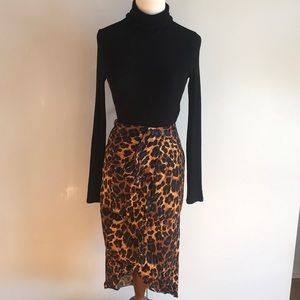 Zara Leopard Print Wrap Skirt